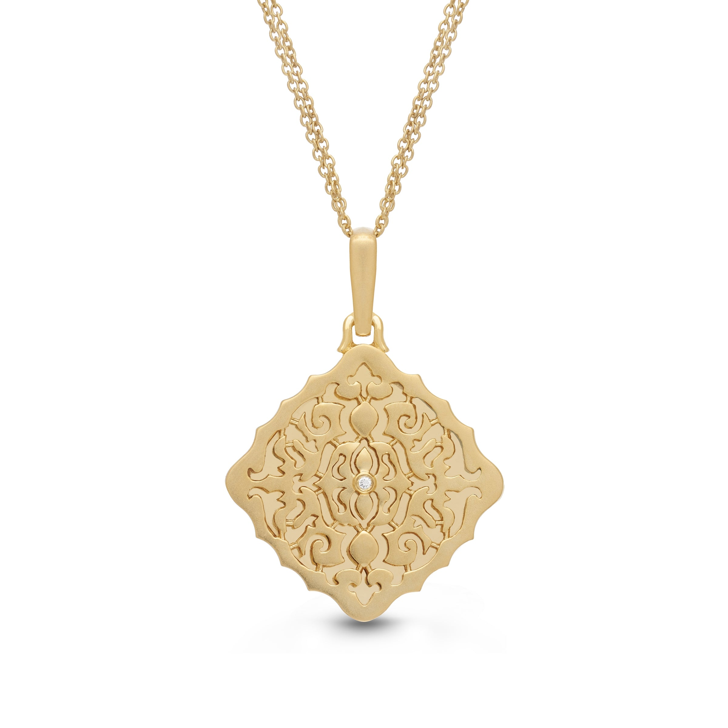 Square Open Locket with Diamond Accent, Yellow Gold Plate