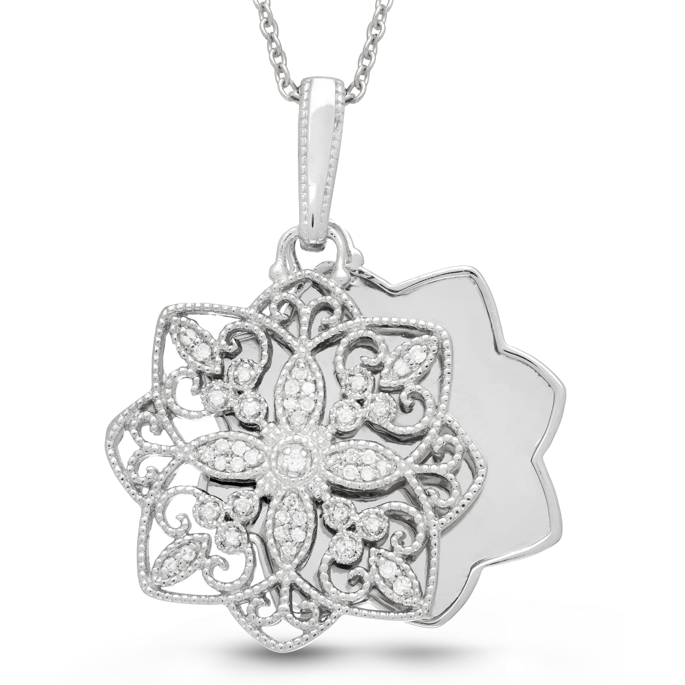 Vintage Style Keepsake Open Locket with Diamonds, Sterling Silver
