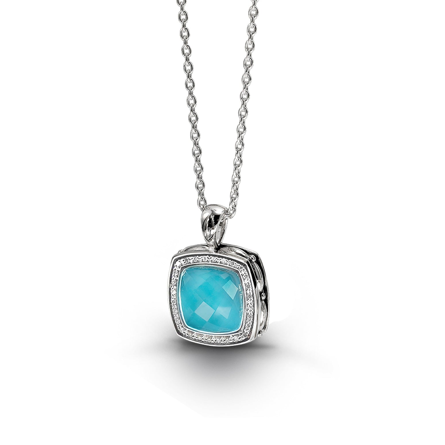 Turquoise and White Quartz Pendant with Diamonds, Sterling Silver