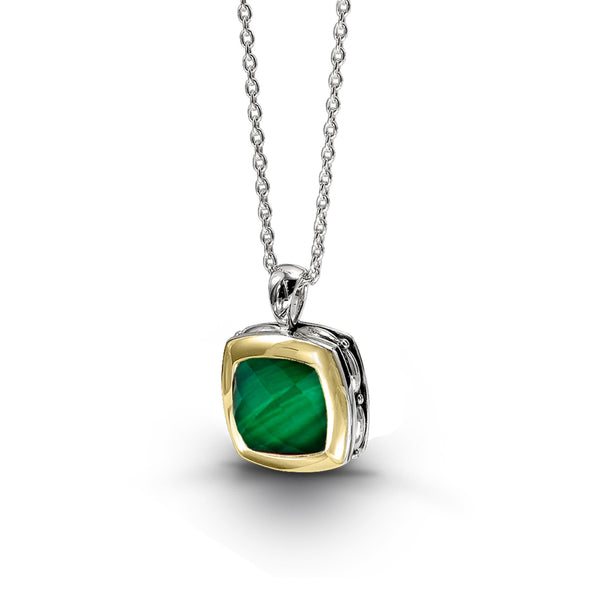 Malachite and White Quartz Pendant, Sterling Silver