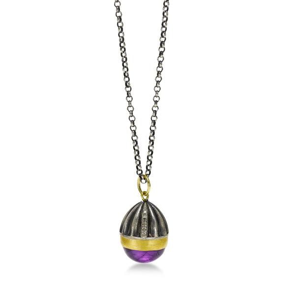 Egg Shaped Amethyst Cabochon Pendant, Sterling Silver and 24K Yellow Gold