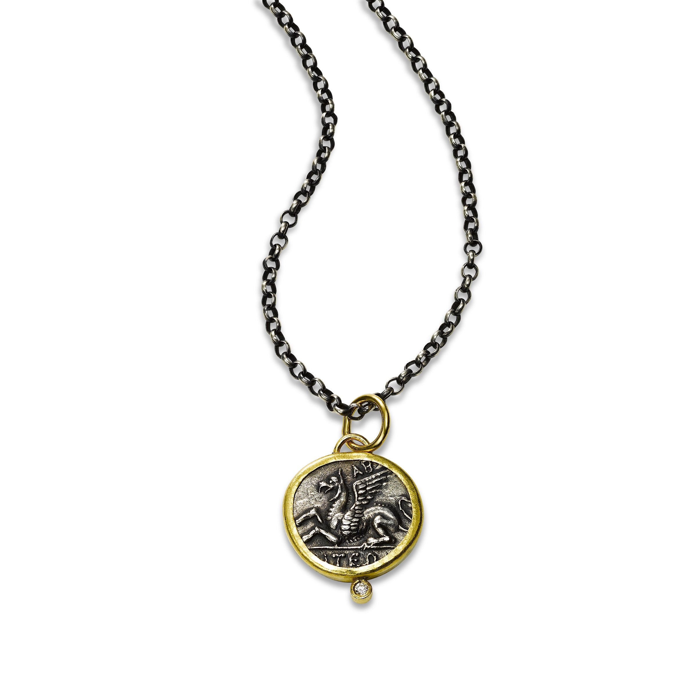Flying Dragon Coin Pendant, Sterling Silver and 24K Yellow Gold
