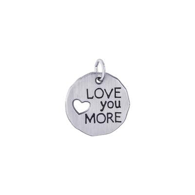 Love You More Charm Tag, Sterling Silver