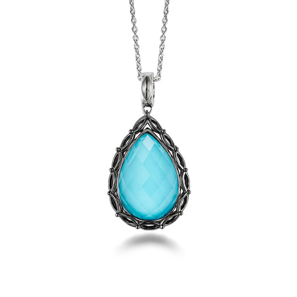 Turquoise and White Quartz Doublet Pendant, Sterling Silver