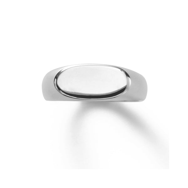 Oval Polished Sterling Signet Ring, Sterling Silver