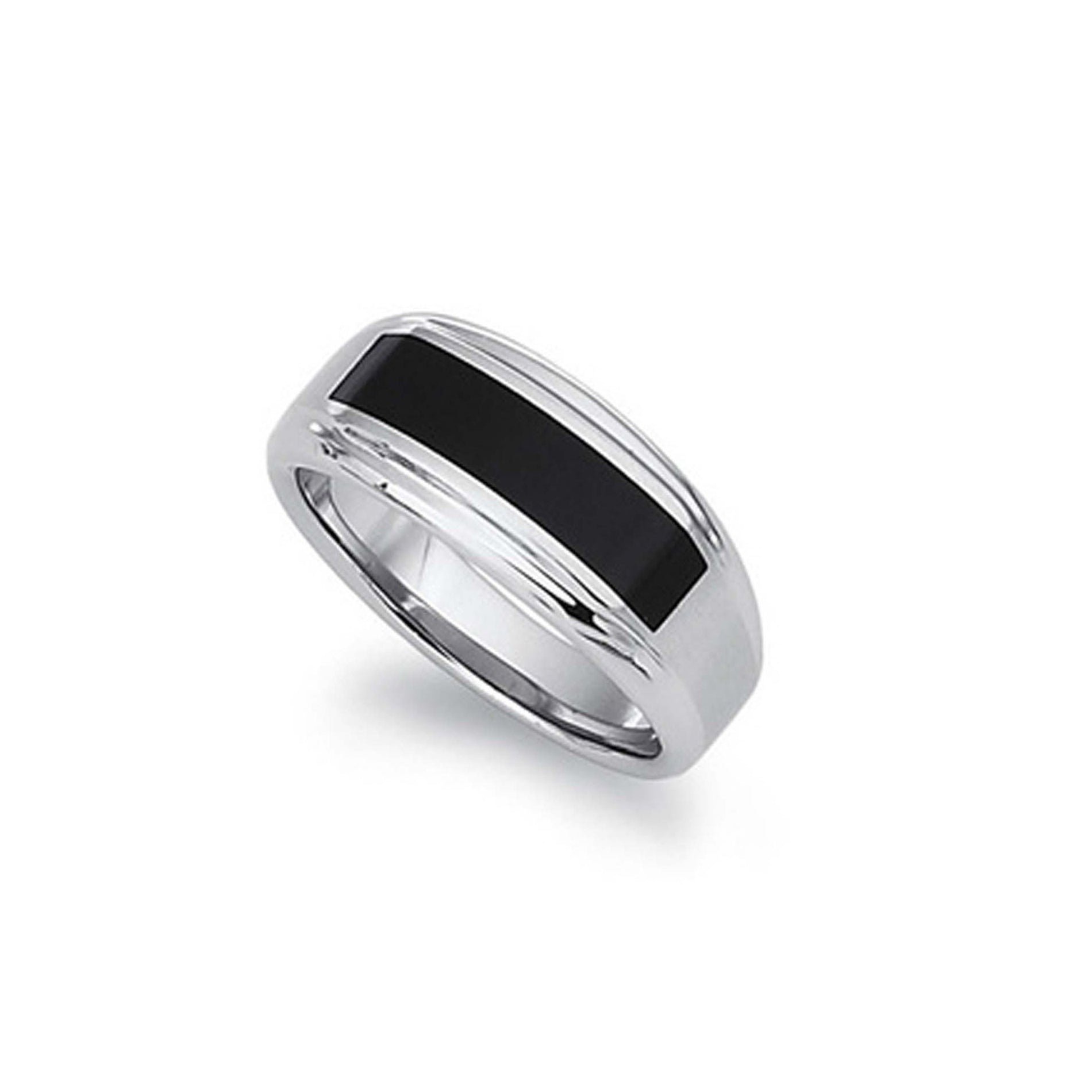 Black Enamel Men's Ring, Size 10, Stainless Steel