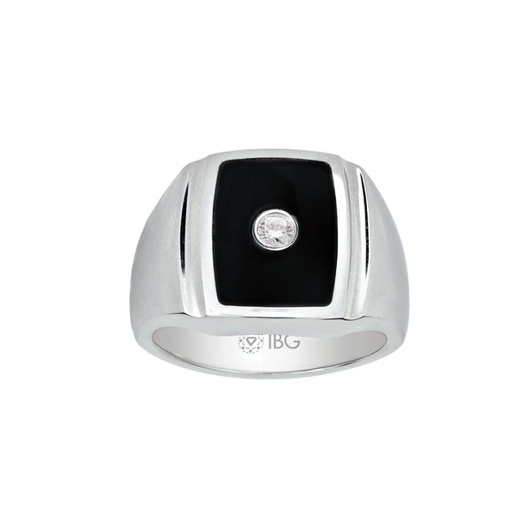 Black Enamel with Diamond Ring, Size 10.5, Stainless Steel