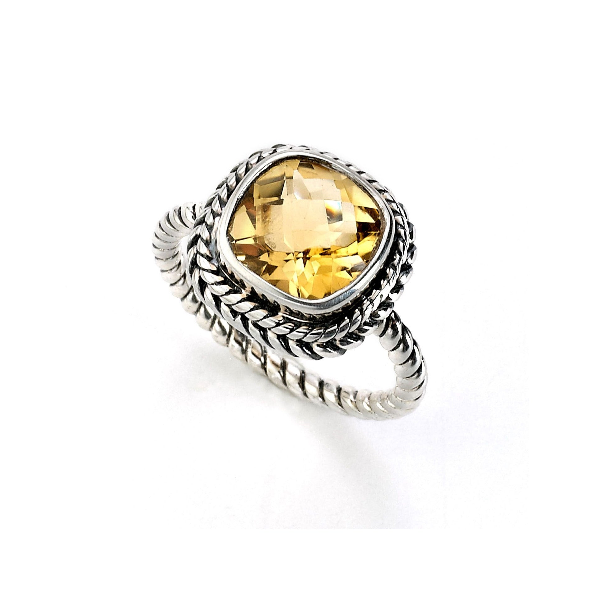 Rope Design Cushion Cut Citrine Ring, Sterling Silver
