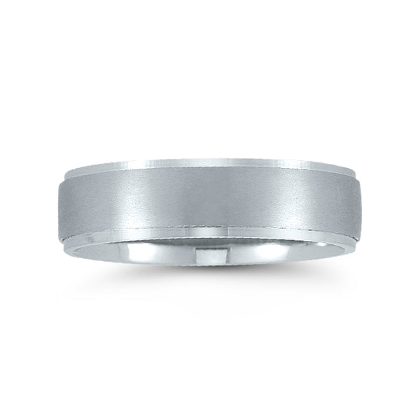 Flat Brushed Center Wedding Band, 6 MM, Argentium Sterling Silver