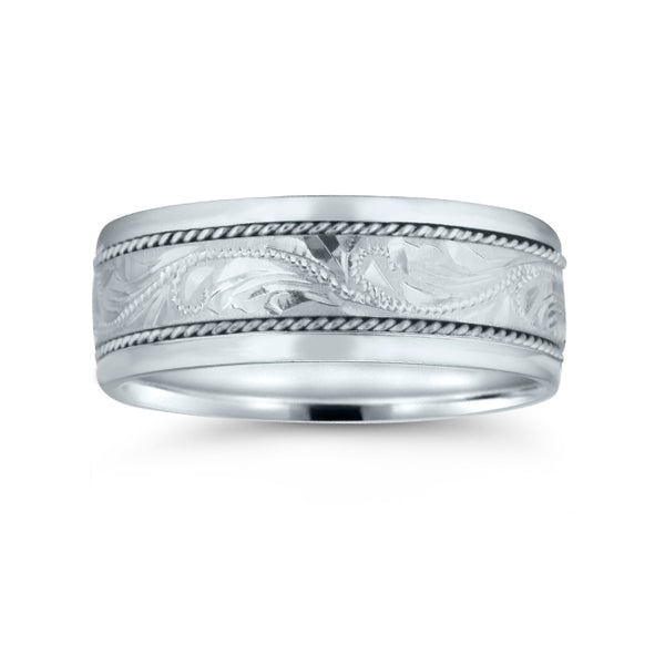Hand Engraved Wedding Band, 8 MM, Argentium Sterling Silver