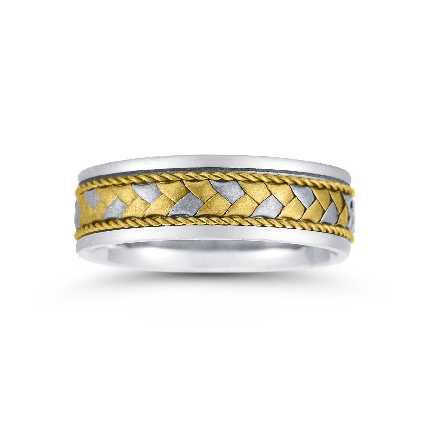 Flat Woven Center Wedding Band, 7 MM, Size 10, 14K Gold
