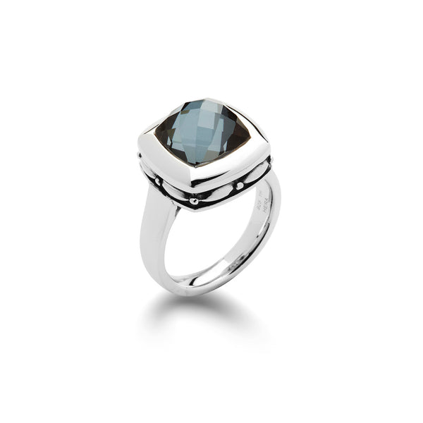 Hematite and White Quartz Ring, Sterling Silver
