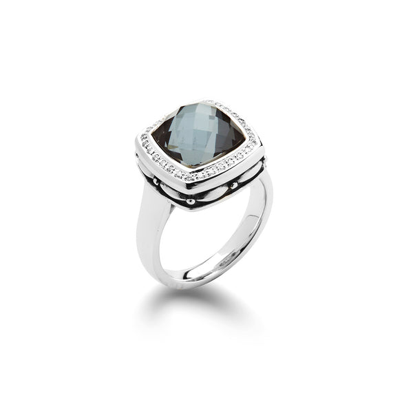 Hematite and White Quartz Ring with Diamonds, Sterling Silver