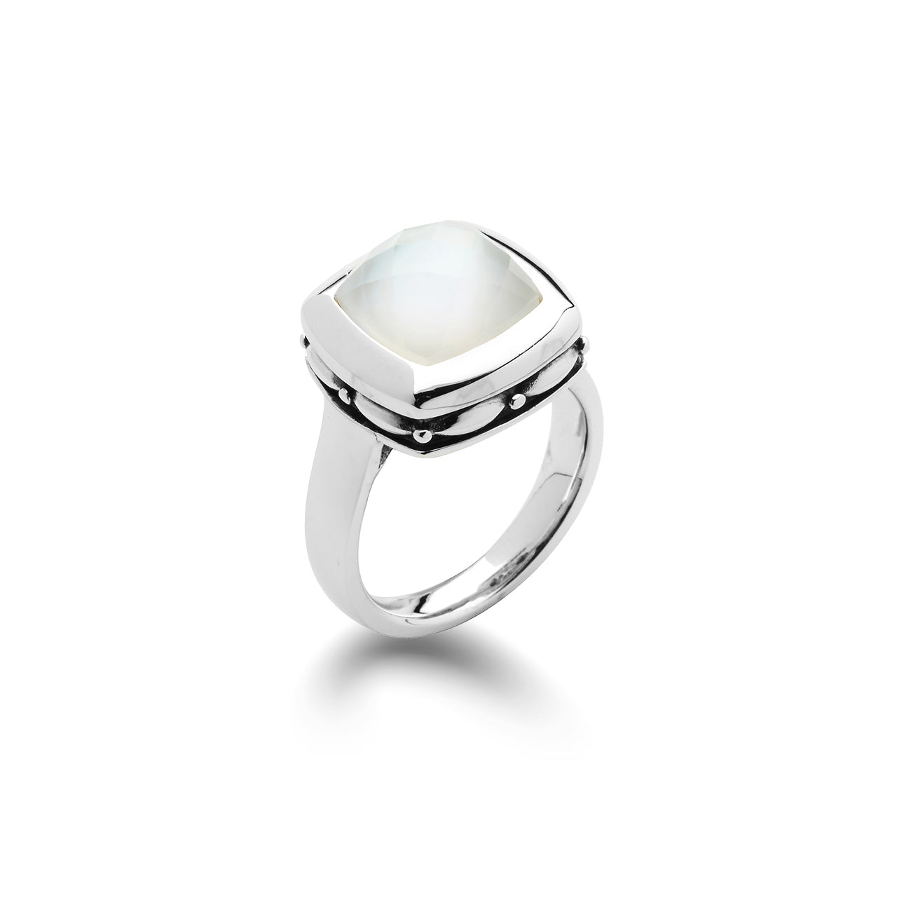 Mother of Pearl and White Quartz Ring, Sterling Silver