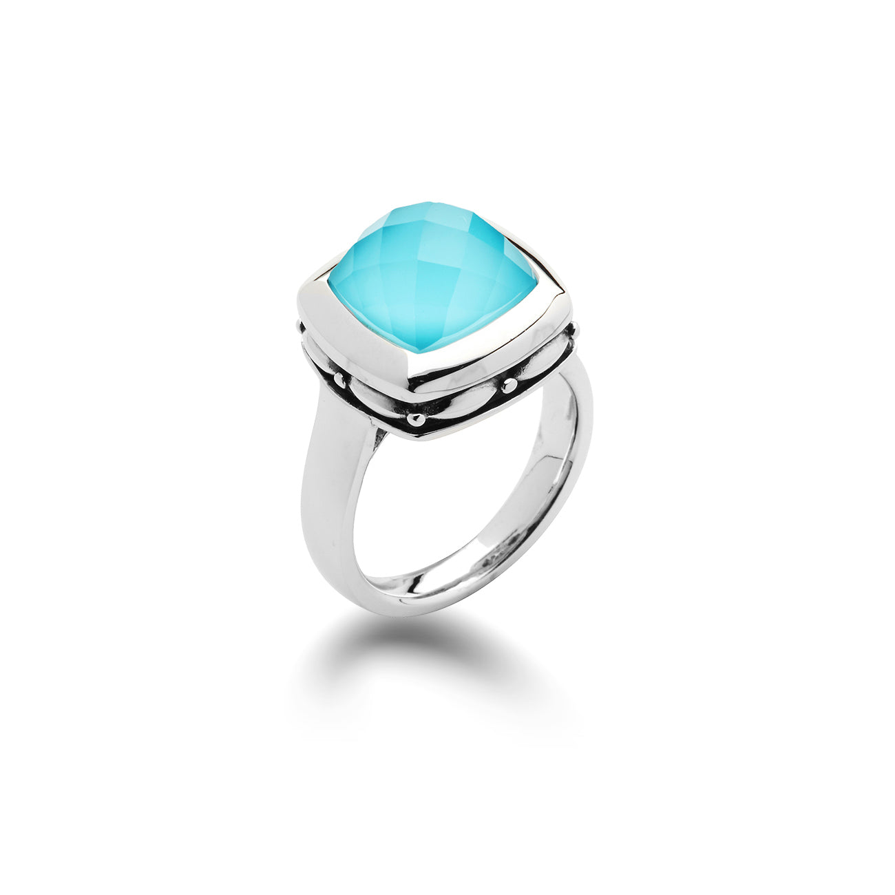 Turquoise and White Quartz Ring, Sterling Silver