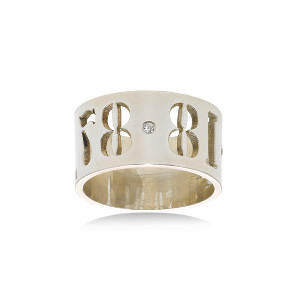 Custom Date or Name Cutout Ring, Sterling Silver