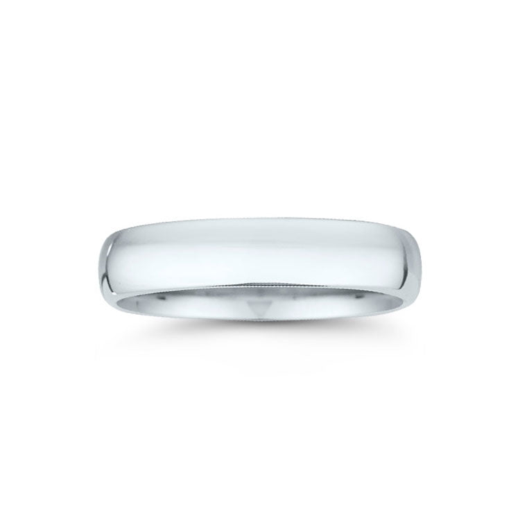 High Domed Wedding Band, 5MM, 14K White Gold