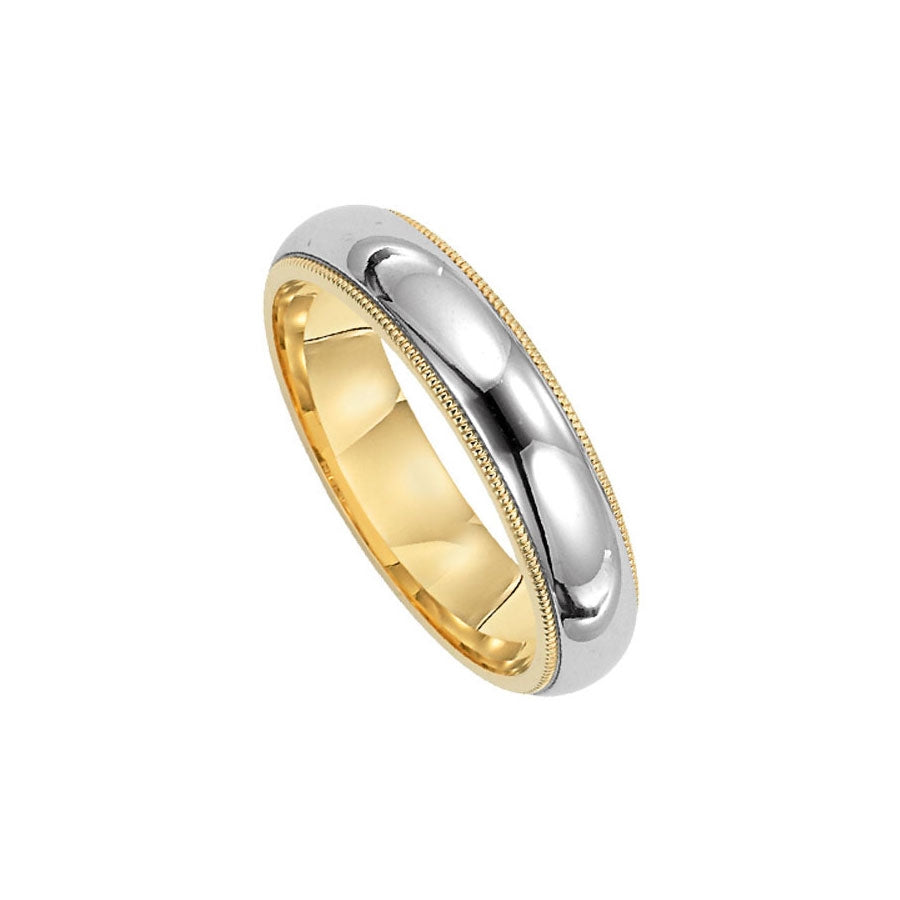 Milgrain Edge Wedding Band, 6MM, Platinum and 18K Yellow Gold