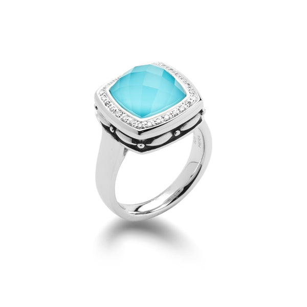 Turquoise and White Quartz Ring with Diamonds, Sterling Silver