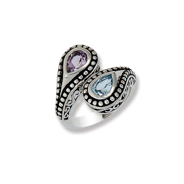Amethyst and Blue Topaz Bypass Ring, Sterling Silver