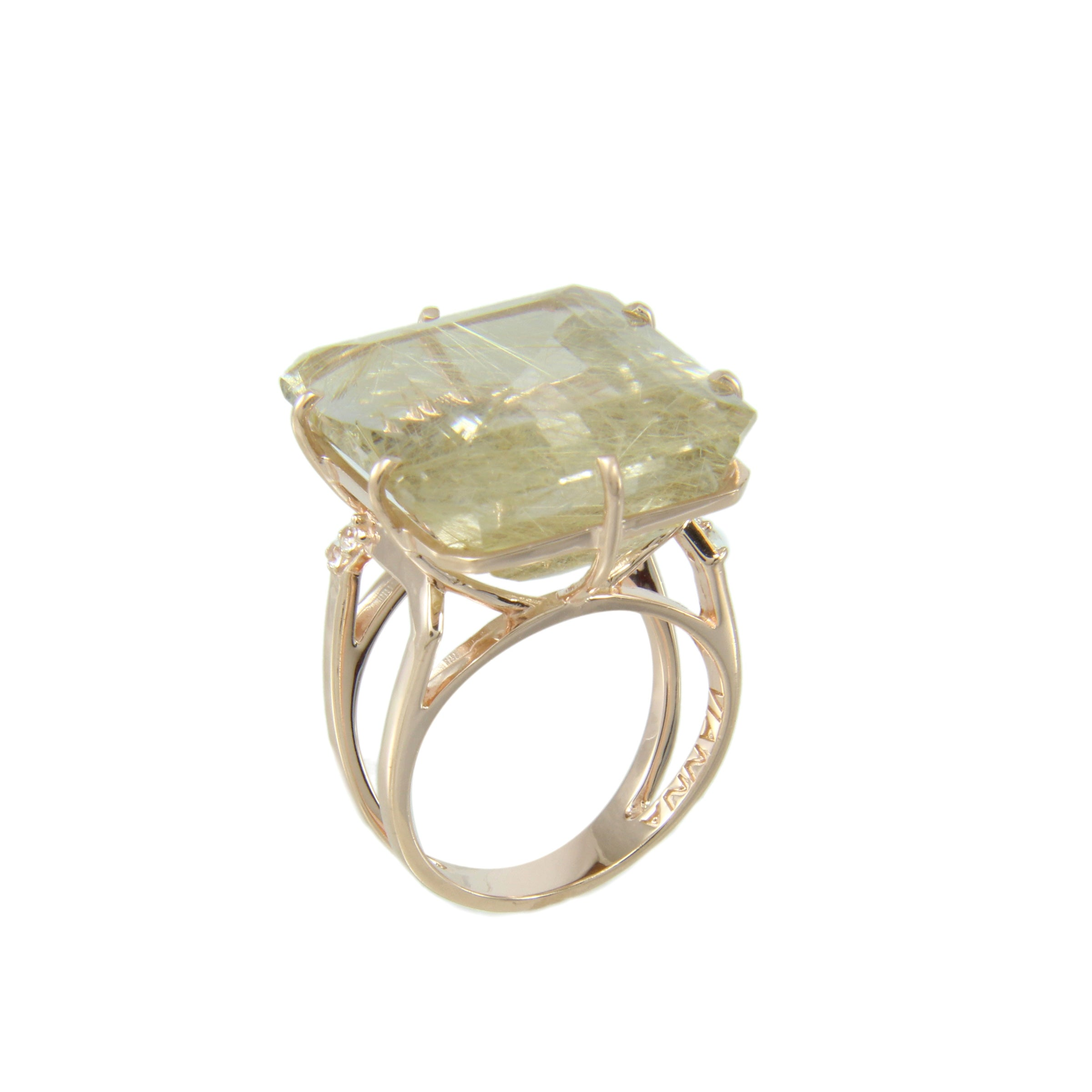 Rutilated Quartz and White Topaz Ring, Sterling Silver and Vermeil