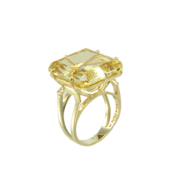Light Citrine and White Topaz Ring, Sterling Silver and Vermeil