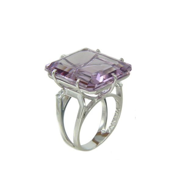 Pink Amethyst and White Topaz Ring, Sterling Silver