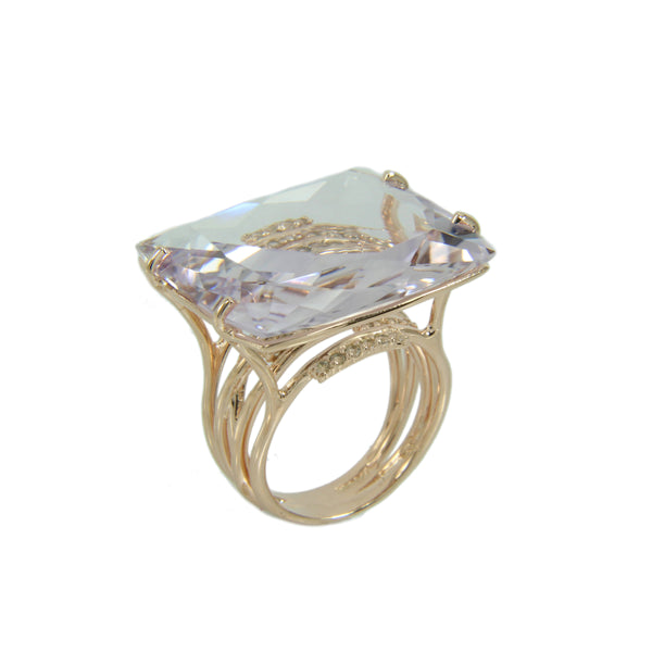 Pink Amethyst and White Topaz Ring, Sterling Silver and Vermeil