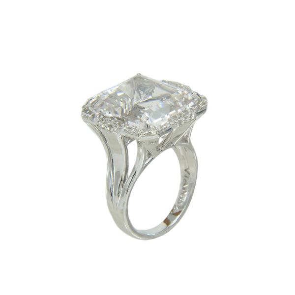 Colorless Rock Crystal and White Topaz Ring, Sterling Silver