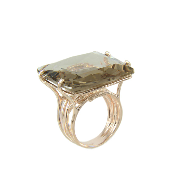 Smokey Quartz and White Topaz Ring, Sterling Silver and Vermeil