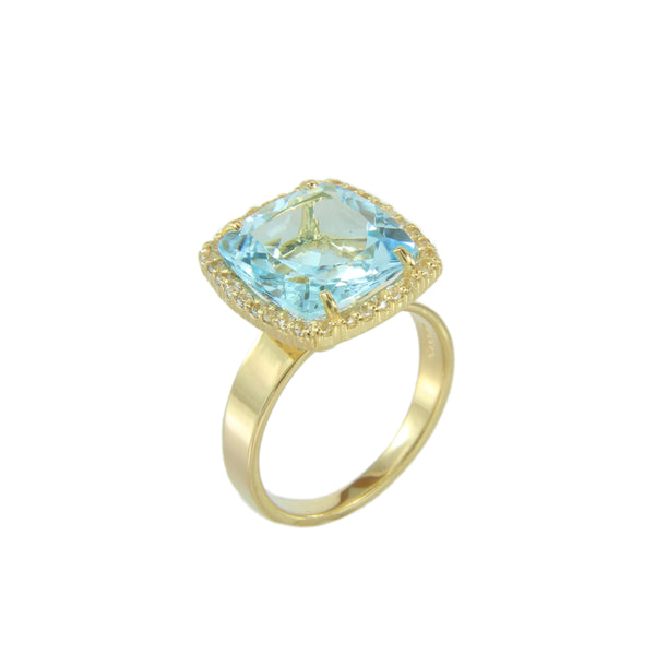 Cushion Cut Blue Topaz and White Topaz Ring, Sterling Silver and Vermeil