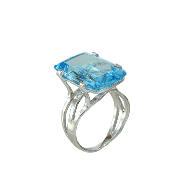 Blue Topaz and White Topaz Ring, Sterling Silver