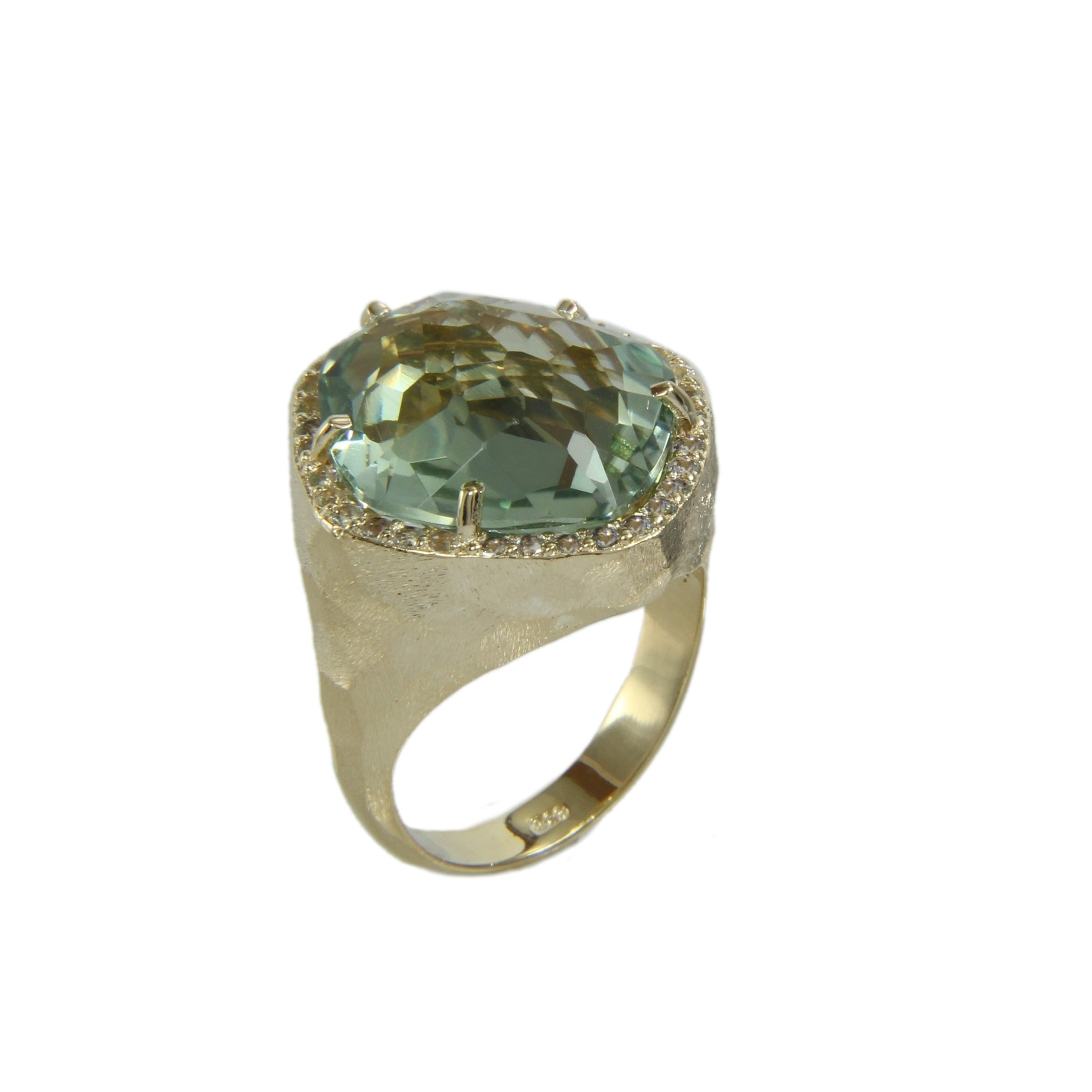 Oval Prasiolite and White Topaz Ring, Sterling Silver and Vermeil