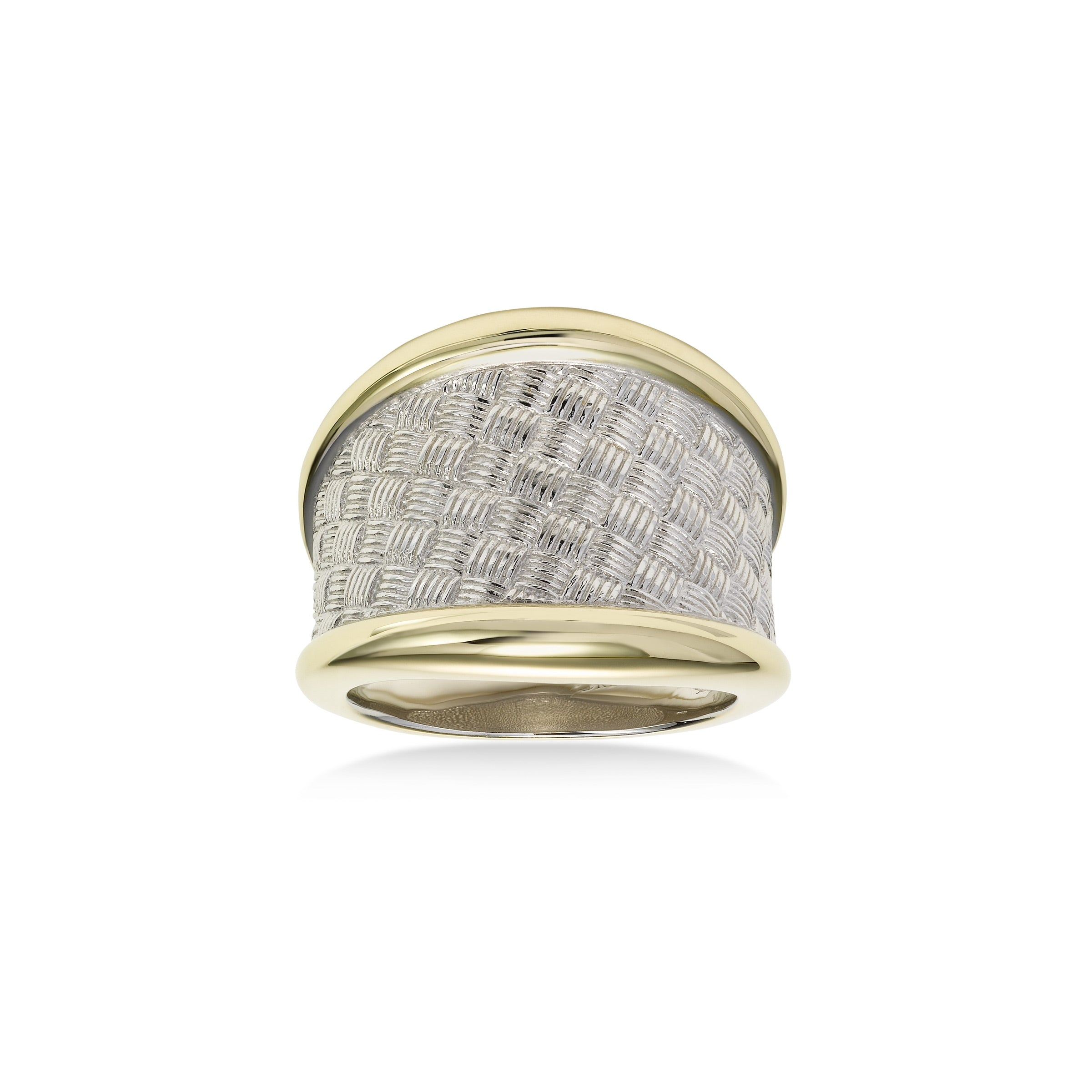Weave Design Ring, Sterling Silver with Yellow Gold Plating