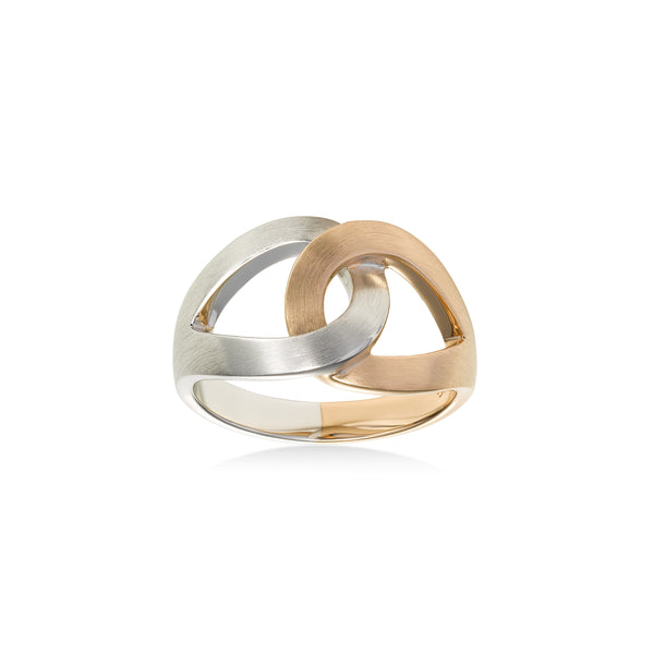 Two Tone Interlocking Link Ring, Sterling Silver with Rose Gold Plating