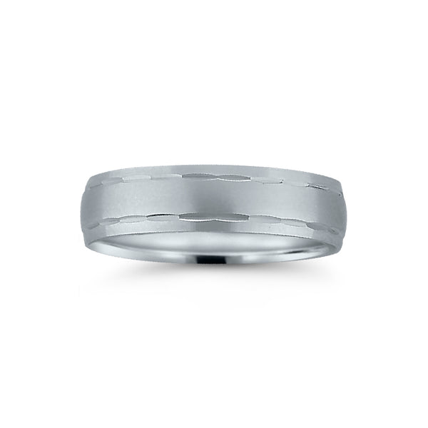 Flat Brushed Wedding Band with Carved Detailing, 6 MM, Argentium Sterling Silver