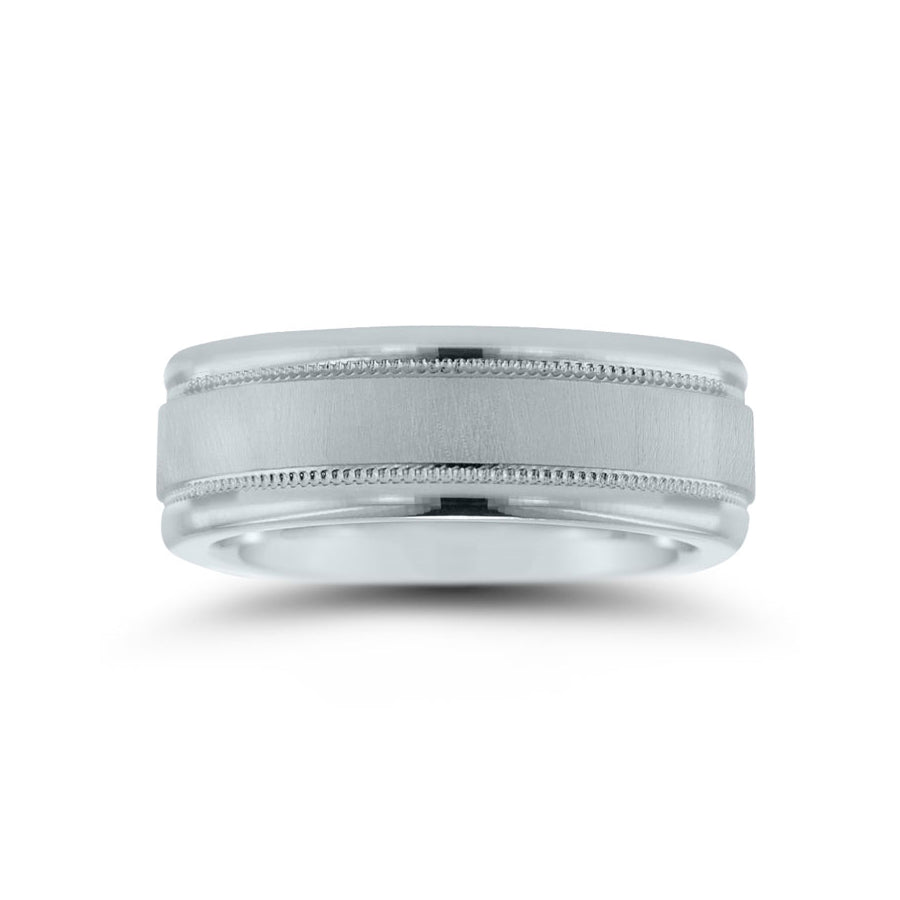 Flat Brushed Wedding Band with Milgrain Detailing, 7 MM, Argentium Sterling Silver