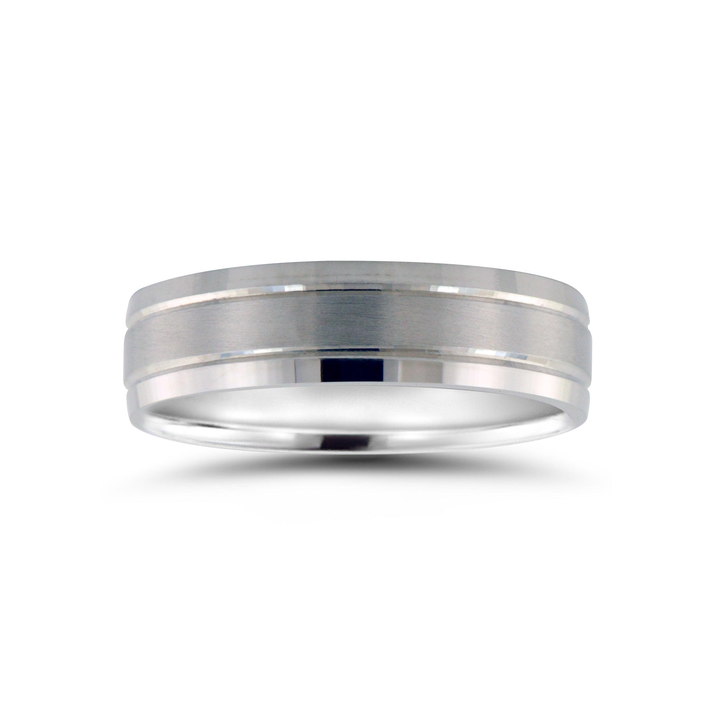 Flat Brushed Wedding Band with Ridges, 6 MM, Argentium Sterling Silver