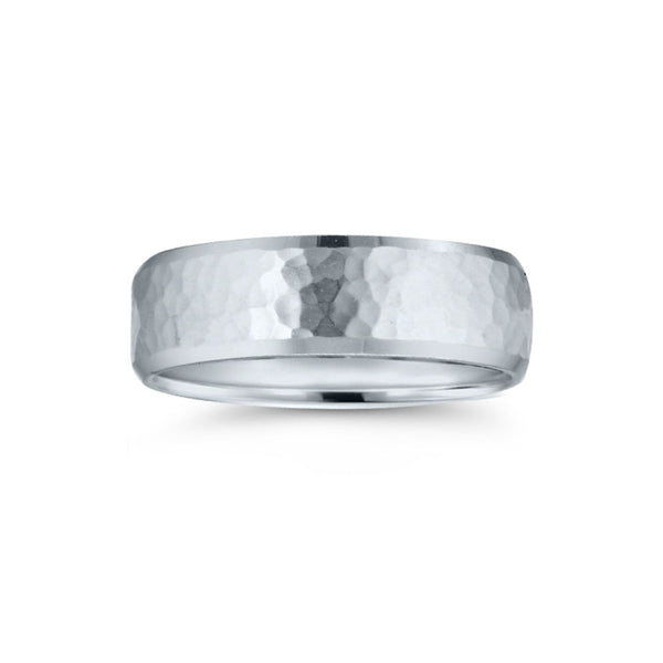 Hammered Center Wedding Band with Beveled Edges, 7 MM, Argentium Sterling Silver