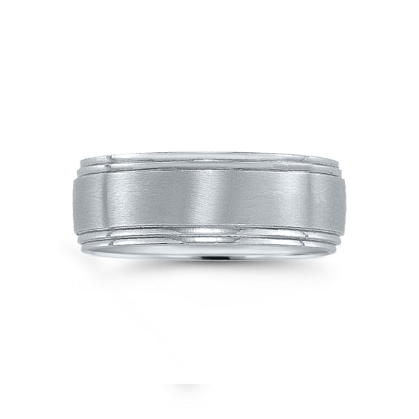 Brushed Wedding Band with Double Stepped Edges, 8 MM, Argentium Sterling Silver