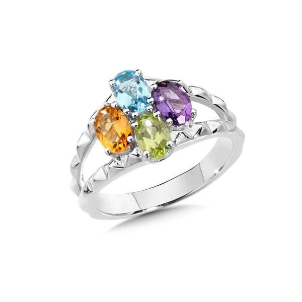 Multi Gemstone Ring, Sterling Silver