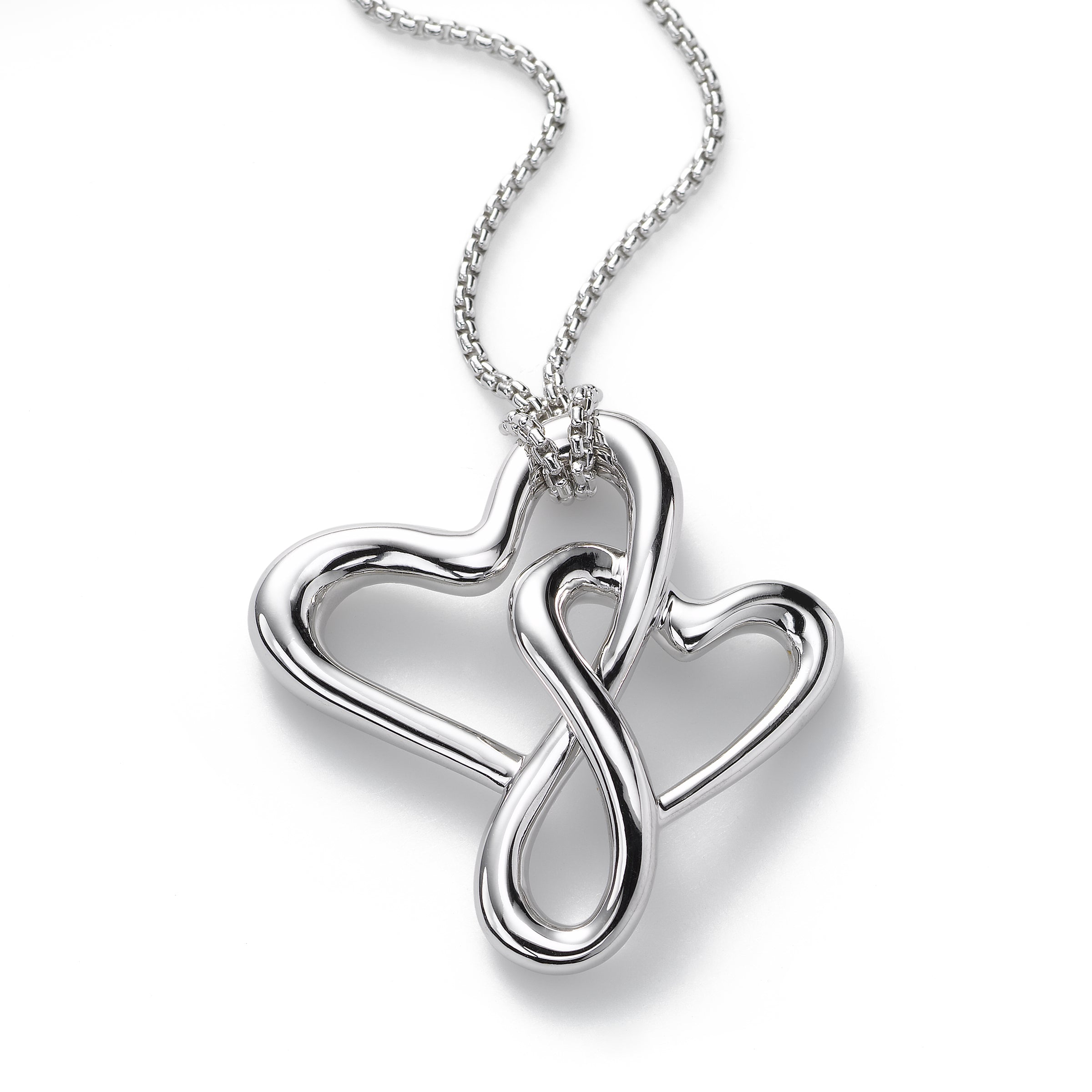 Happy Hearts Large Pendant, 24 Inch Chain, Sterling Silver