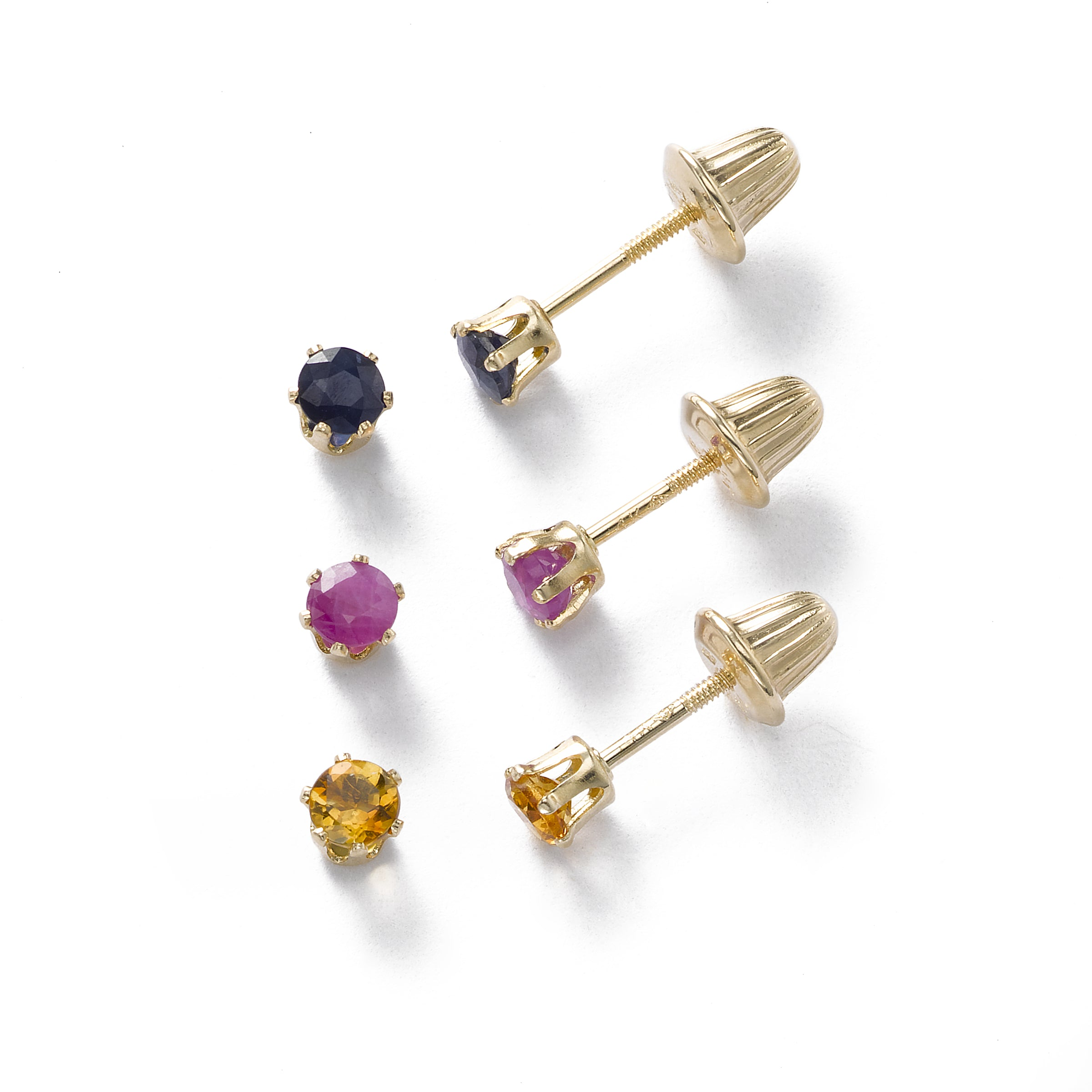 Baby Ruby July Birthstone Earring, 14K
