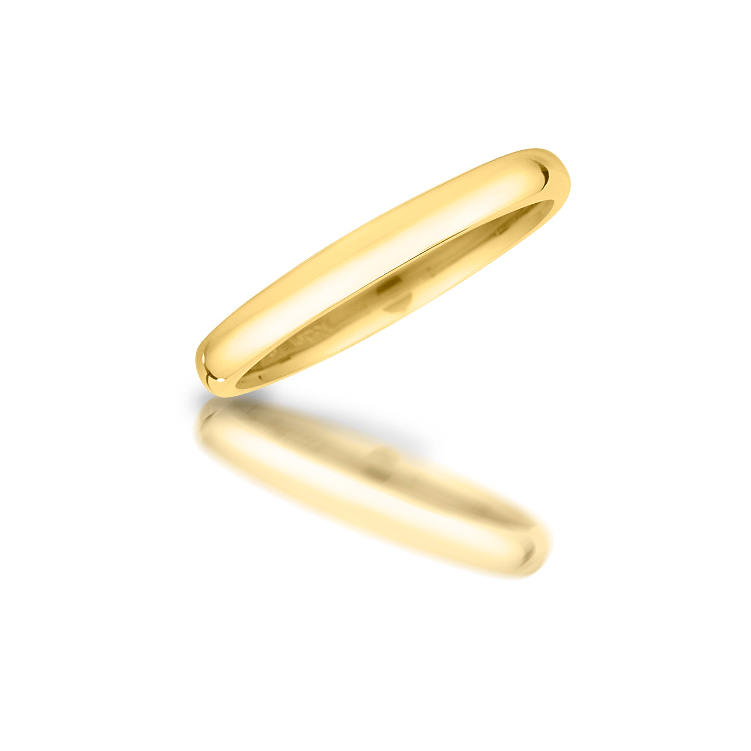 Half Domed 14 Karat Yellow Gold Band, Sizes 6 through 10