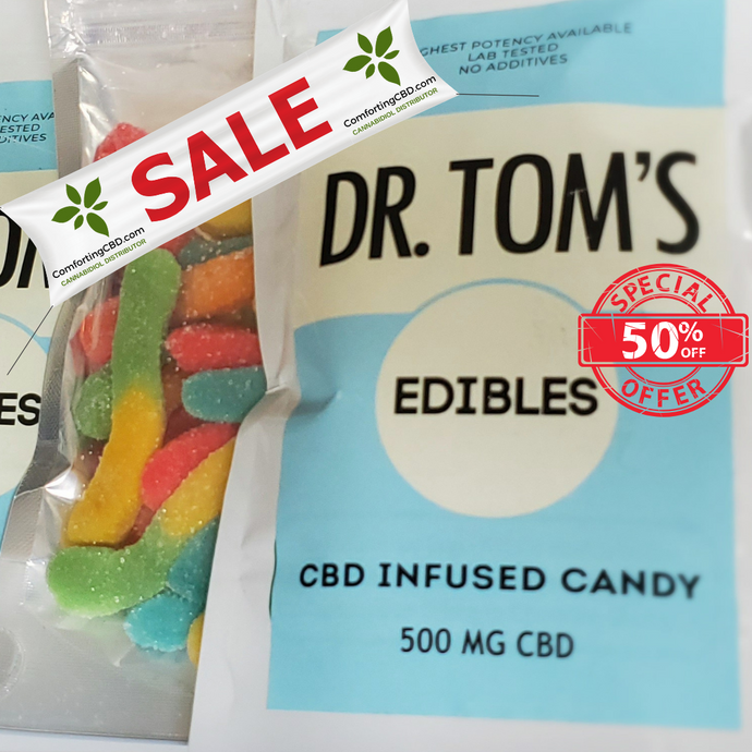 BULK SALE: Dr. Tom's CBD Edibles Variety - Worms, Rings, and Sour Belts - 500MG (5 pack)