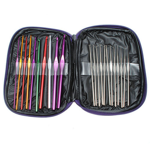 22PC MIXED COLOR CROCHET HOOKS SET