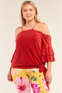 Sleeveless Off-The-Shoulder Layered Angel Sleeve Self-Tie Hem Top