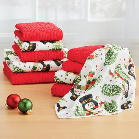 Holiday Snowmen and Red Striped 10-Piece Kitchen Towel Set