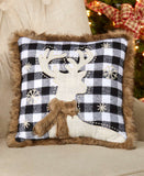 SS-Faux Fur-Trimmed Plaid Pillows or Stockings