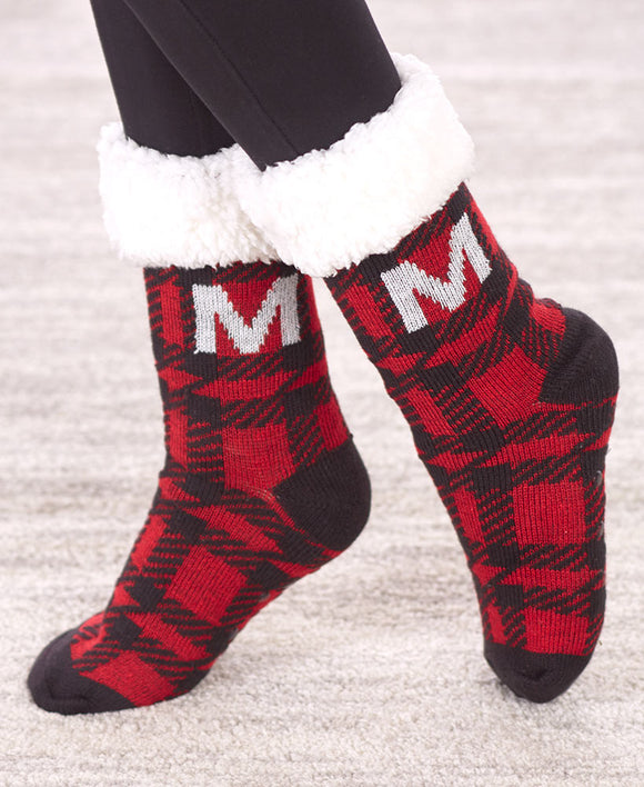 SS-Monogram Plush-Lined Slipper Socks